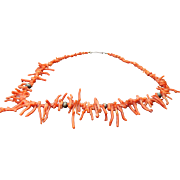 Vintage Salmon Branch Coral Necklace 22""