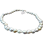 "Gorgeous 9mm Saltwater Keshi Silver Tahitian 15"" Pearl Necklace"