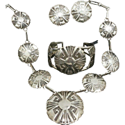 Stunning Handcrafted Samson Keams Navajo Native American Sterling Silver Cuff Bracelet, Necklace & Earrings Set, 1995 Made In USA.
