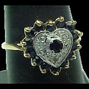 14K Yellow Gold Heart Shape Sapphire & Diamond Ring