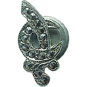 Vintage Sterling Silver Marcasite Shriners Tie Tac Pin ~ Masonic Freemanson