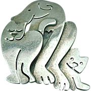 Sterling Silver Dog & Cat Pin by Far Fetched