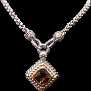 Sterling Silver /14K Yellow Gold 5.00 Carat Smoky Topaz Necklace