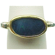 Custom Design Sterling Silver & 14K Yellow Gold Boulder Opal Ring