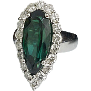 Stunning Handcrafted 14 Karat White Gold 7.25 Carat Natural Chrome Green Tourmaline & Diamond Estate Cocktail Ring.