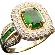 10K Yellow Gold 3.50 CTW Emerald Cut Tsavorite Garnet & White Spinel Ring