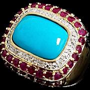 Gorgeous 14 Karat Yellow Gold 7.50 Persian Turquoise, Diamond & Ruby Ring
