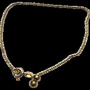 Vintage Sterling Silver/Gold Vermeil Twisted Anklet