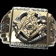 10K Yellow & White Gold Diamond Freemasons Masonic Ring