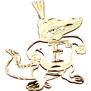 Vintage 14k Solid Gold Florida Gator Pendant ~ Signed MA Michael Anthony