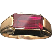 10k Rose Gold Unisex 2.46 Carat Rectangle Ruby Ring