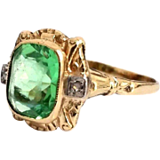 Art Nouveau Era 10 Karat Yellow Gold Uranium Vaseline Glass & Diamond Cocktail Ring