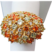 Sterling Silver /Vermeil Faux Spessartite Garnet & Yellow Sapphire Cocktail Ring