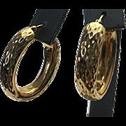 Sterling Silver/Vermeil Diamond Cut Pierced Hoop