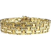 "Stunning Handcrafted Custom Solid 14 Karat Yellow Gold 13.25mm Woven Bismark Link 7.50"" Bracelet."