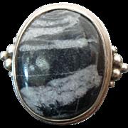 Sterling Silver Zebra Marble Jasper Ring