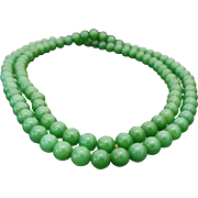 "Vintage Adventurine Beaded 30"" Necklace"