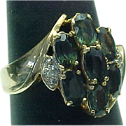 14K Yellow Gold Enhanced Alexandrite & Diamond Cluster Ring