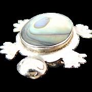 Mexico Alpaca Silver Abalone Turtle Brooch