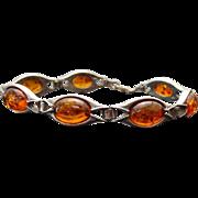 Vintage Sterling Silver Amber Link Bracelet