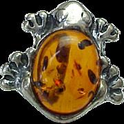 Vintage Sterling Silver, Baltic Amber Frog Brooch