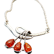 Vintage Sterling Silver Amber Swirl Necklace