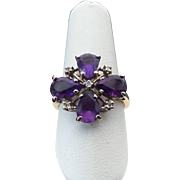 10K Gold Purple & White Amethyst Cross Ring