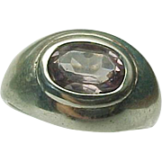 Sterling Silver Amethyst Dome Ring
