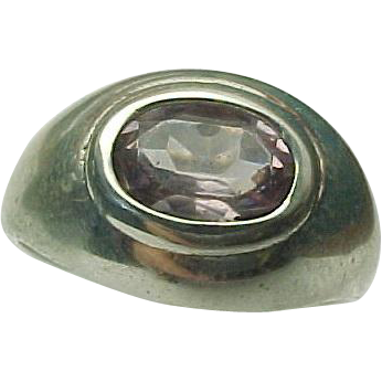sterling silver amethyst dome ring from