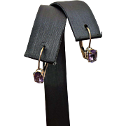10k Yellow Gold .50 Carat Amethyst Drop Earrings