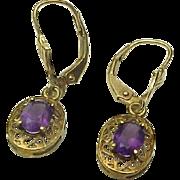 Vintage 10K Yellow Gold Filigree 1.00 Carat Amethyst Lever Back Dangle Earrings