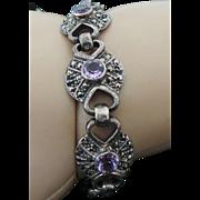Sterling Silver Amethyst & Marcasite Bracelet