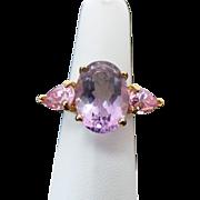 Amethyst & Pink Tourmaline Gold Vermeil Ring