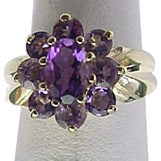14k Yellow Gold 1.00 Carat Amethyst Cluster Ring