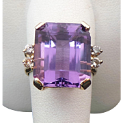 14K Yellow Gold 7.25 Carat Amethyst & Diamond Ring