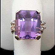 14K Yellow Gold 7.25 Carat Amethyst & Diamond Ring