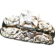 14K Art Deco Diamond Wedding Set