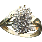 10K Yellow Gold Baguette And Round Diamond Ring