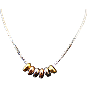 """14K White Gold Box Chain With Tri Gold Bead Accents 16"""""""