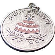 Vintage Sterling Silver,  Happy Birthday Cake Round Disc Charm ~ Wells~