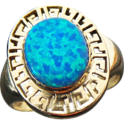 14K Yellow Gold, 2.15 Carat Black Opal Greek Key Ring