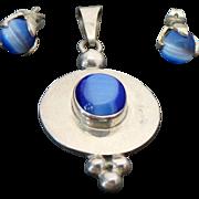 Sterling Silver Blue Cats Eye Pendant & Matching Pierced Post Earrings