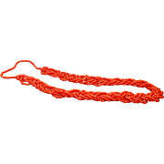 "Multi Strand Braided Red Coral 28"" Length"