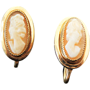 Beautiful Gold Filled Screw Back Cameo Earrings