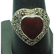 Sterling Silver Carnelian And Marcasite Heart Ring