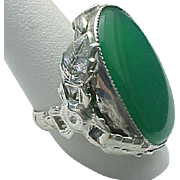 Stunning Vintage Sterling Silver Chalcedony Ring