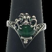 Sterling Silver Chrysoprase Rhinestone Frog Ring