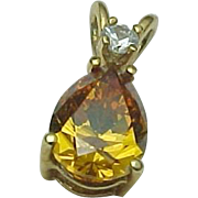 14K Yellow Gold Citrine & Faux Diamond Pendant