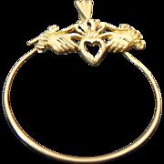 14K Yellow Gold Diamond Cut Heart Claddagh Charm Holder