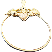 14k Yellow/Rose Gold Claddagh Heart Charm Holder